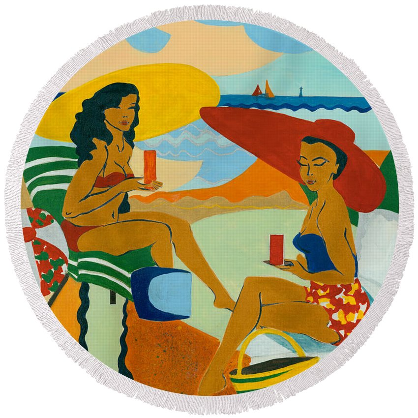 Summer Round Beach Towel featuring the painting Sizzling Summer by Elisabeta Hermann