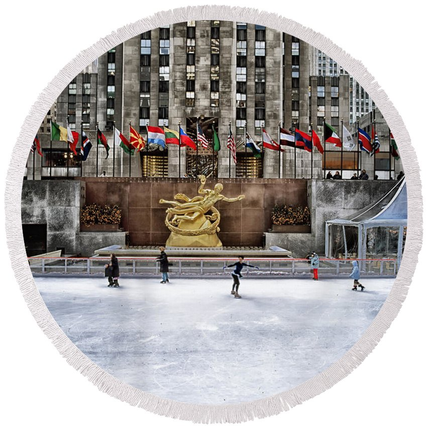 New York City Round Beach Towel featuring the photograph Skating At Rockefeller Plaza by Mountain Dreams