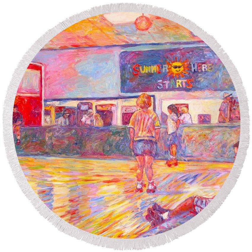 Skaters Round Beach Towel featuring the painting Skating Break by Kendall Kessler
