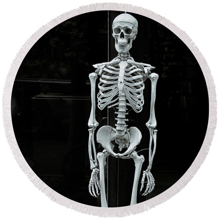 Skeleton New York City Round Beach Towel featuring the photograph Skeleton New York City by Garry Gay
