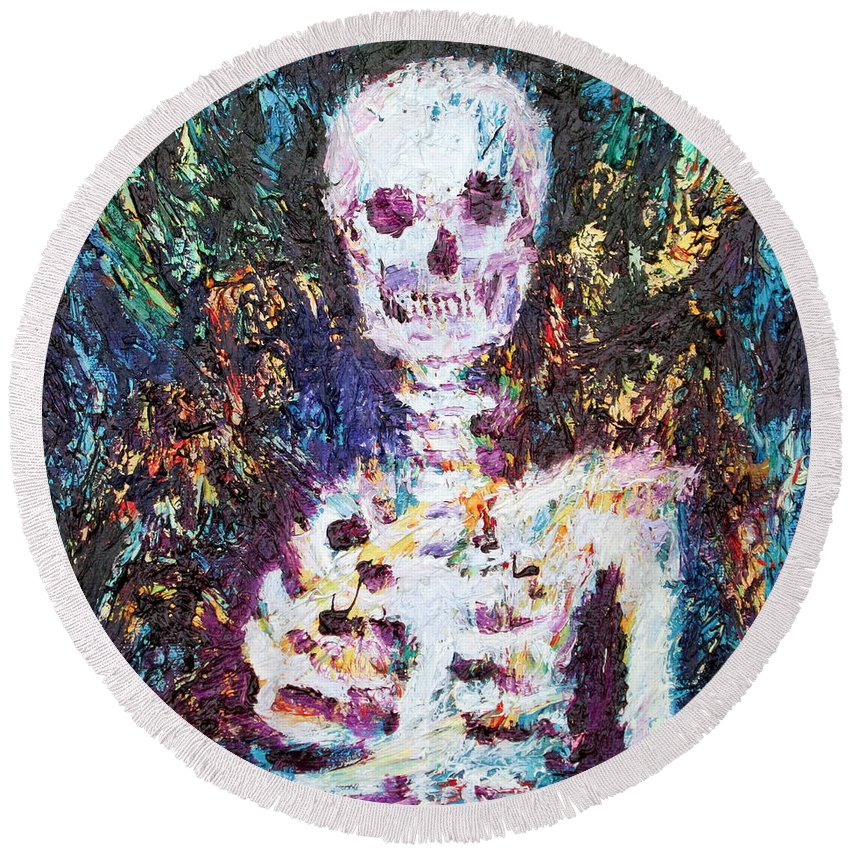 Skeleton Round Beach Towel featuring the painting Skeleton With One Arm by Fabrizio Cassetta