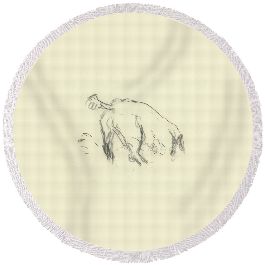 Fashion Round Beach Towel featuring the digital art Sketch Of A Dog Digging A Hole by Carl Oscar August Erickson