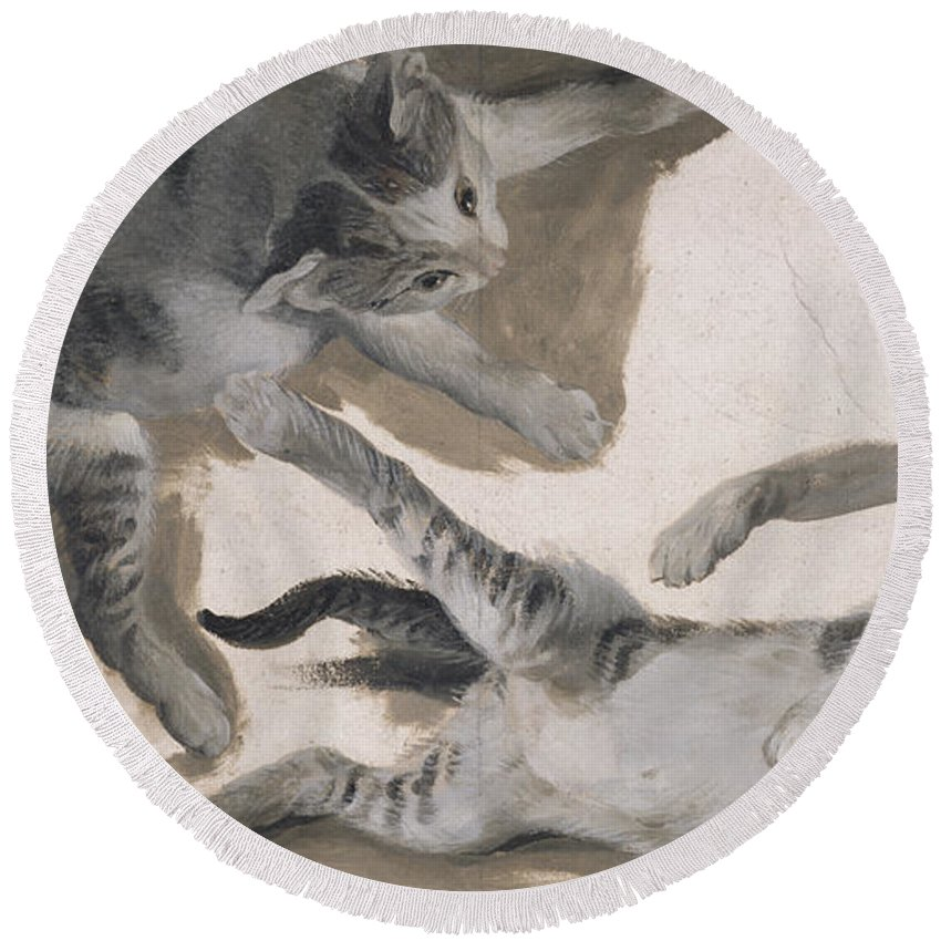 Cat Round Beach Towel featuring the drawing Sketches Of A Kitten by Alexandre-Francois Desportes