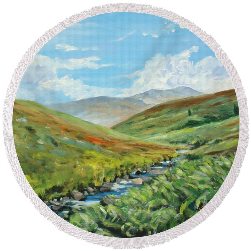 England Round Beach Towel featuring the painting Skiddaw And Little Man by Sheila Vickers
