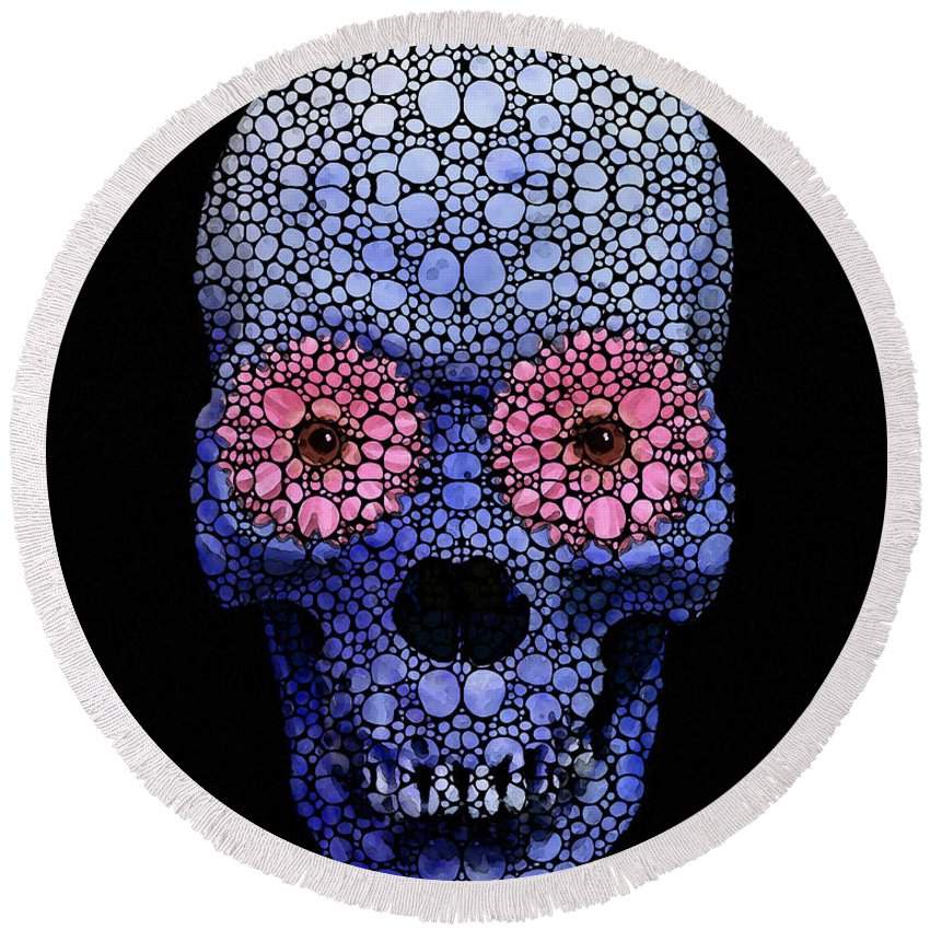 Skull Round Beach Towel featuring the painting Skull Art - Day Of The Dead 1 Stone Rock'd by Sharon Cummings