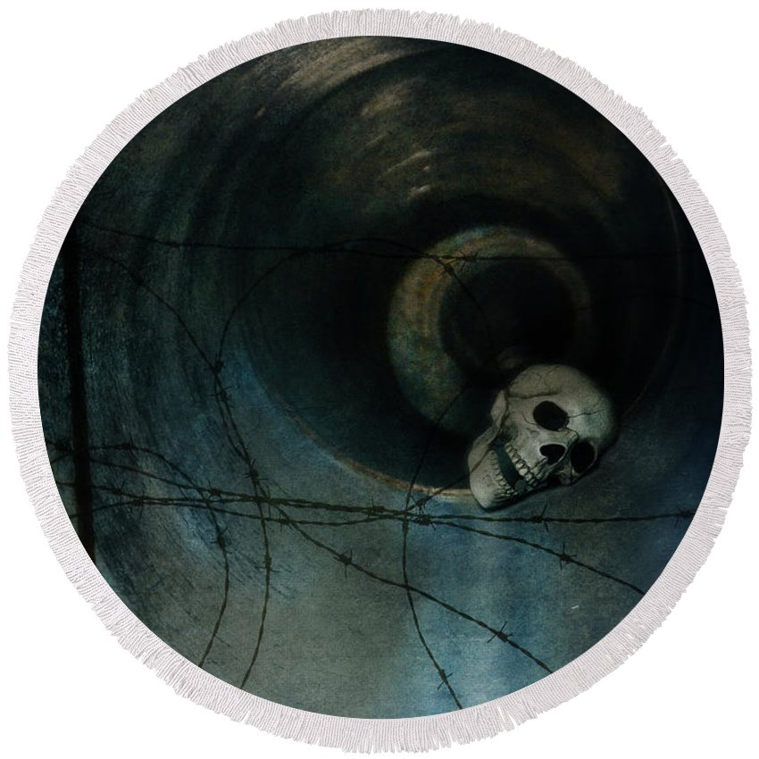Skull Round Beach Towel featuring the photograph Skull In Drainpipe by Jill Battaglia