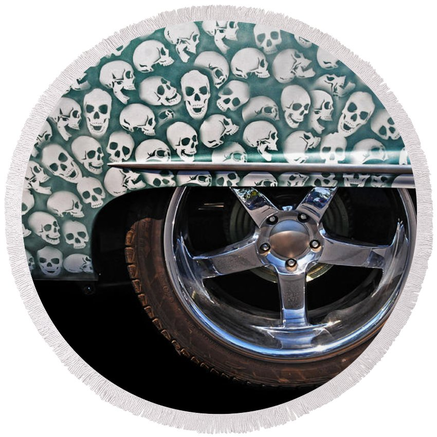 Custom Car Round Beach Towel featuring the photograph Skull Patterns by Dave Mills