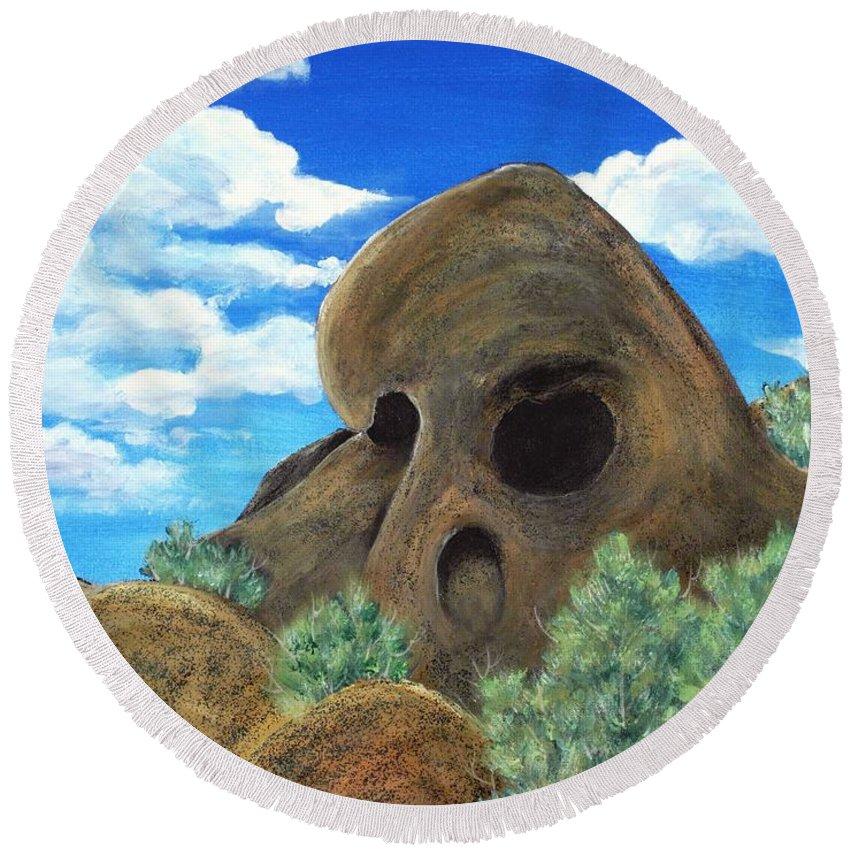 Malakhova Round Beach Towel featuring the painting Skull Rock by Anastasiya Malakhova