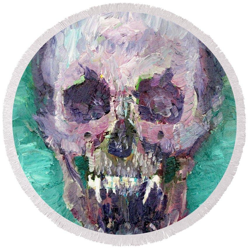 Skull Round Beach Towel featuring the painting Skull Vampire Oil Portrait by Fabrizio Cassetta