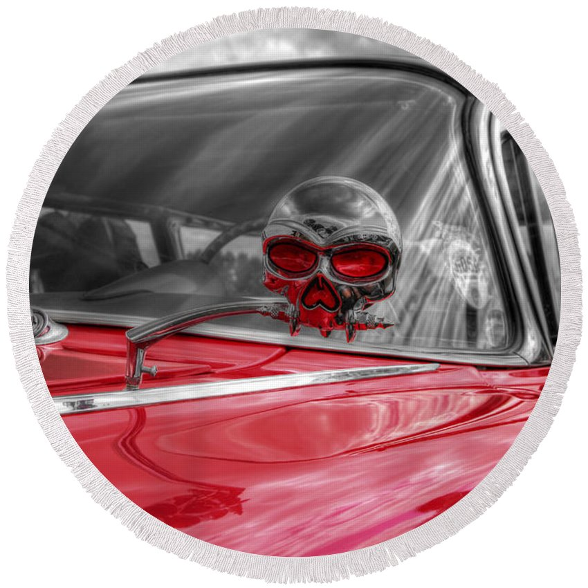 Hdr Round Beach Towel featuring the photograph Skulls Head Chevy by Lee Nichols