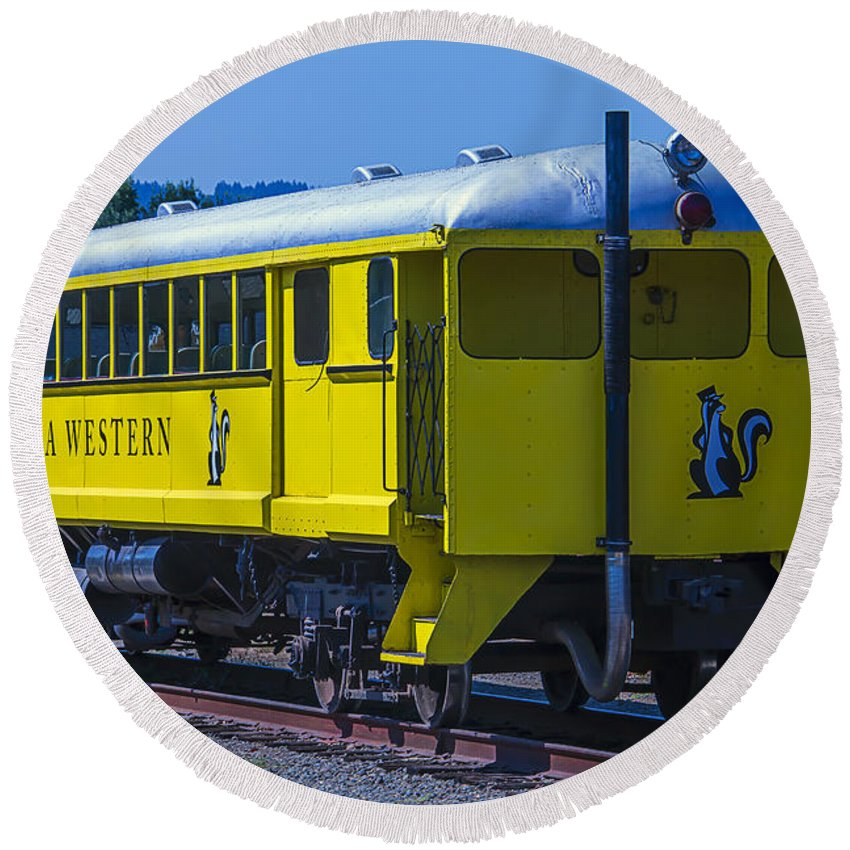 California Western Round Beach Towel featuring the photograph Skunk Train Passenger Car by Garry Gay