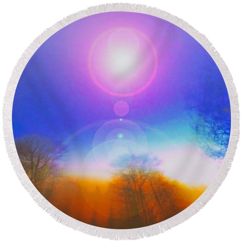 Altered Round Beach Towel featuring the photograph Sky High by Joe Geraci