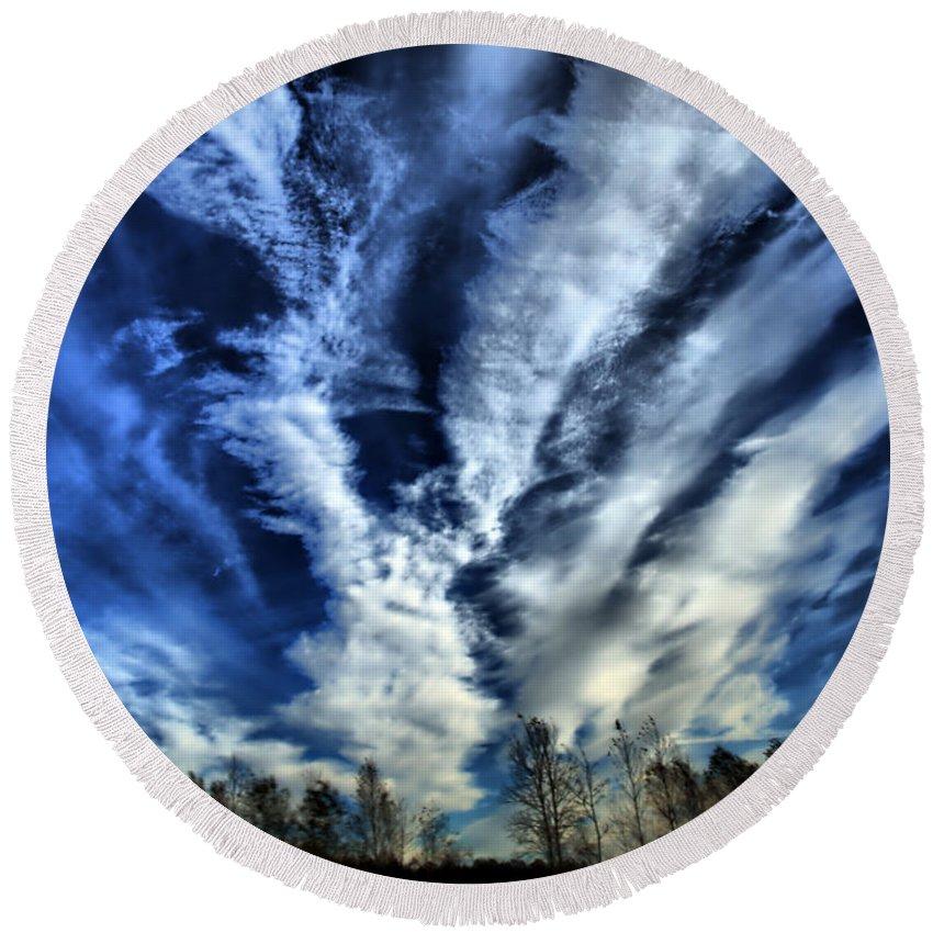 Sky Photos Round Beach Towel featuring the photograph Sky by Justyna JBJart