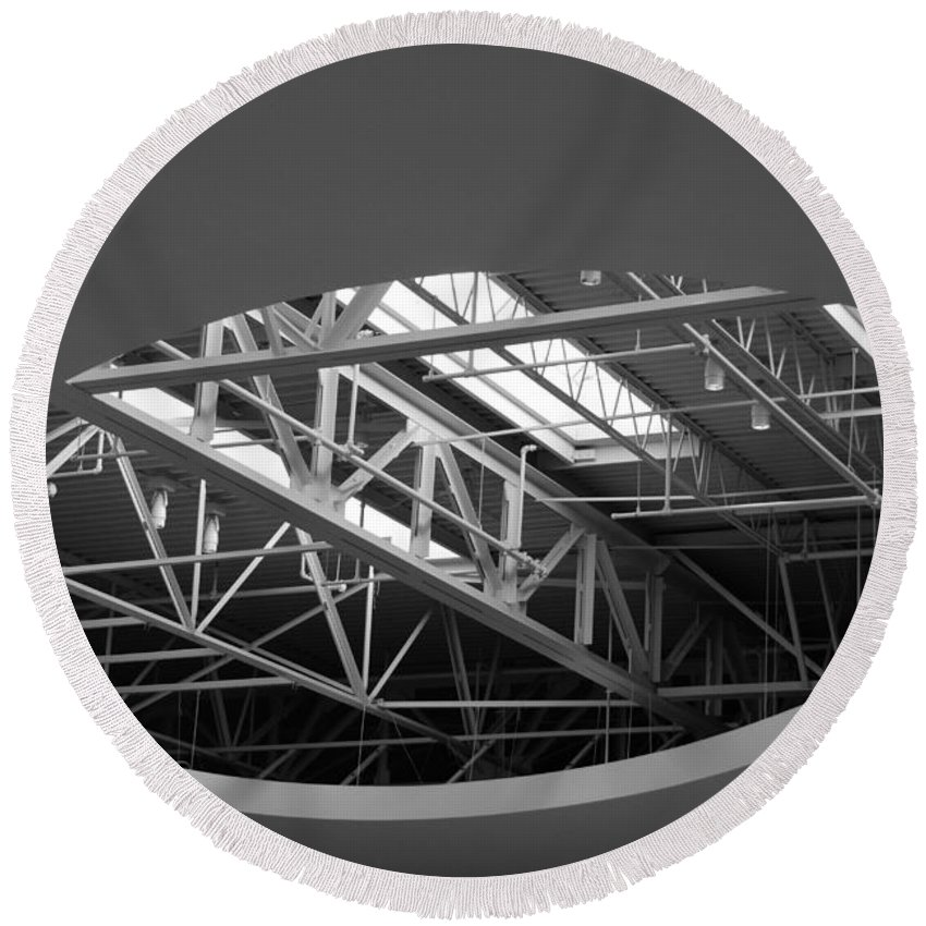Architecture Round Beach Towel featuring the photograph Skylight Gurders In Black And White by Rob Hans