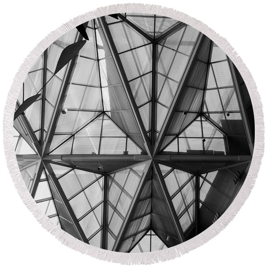 Architecture Round Beach Towel featuring the photograph Skylight by Thomas Marchessault