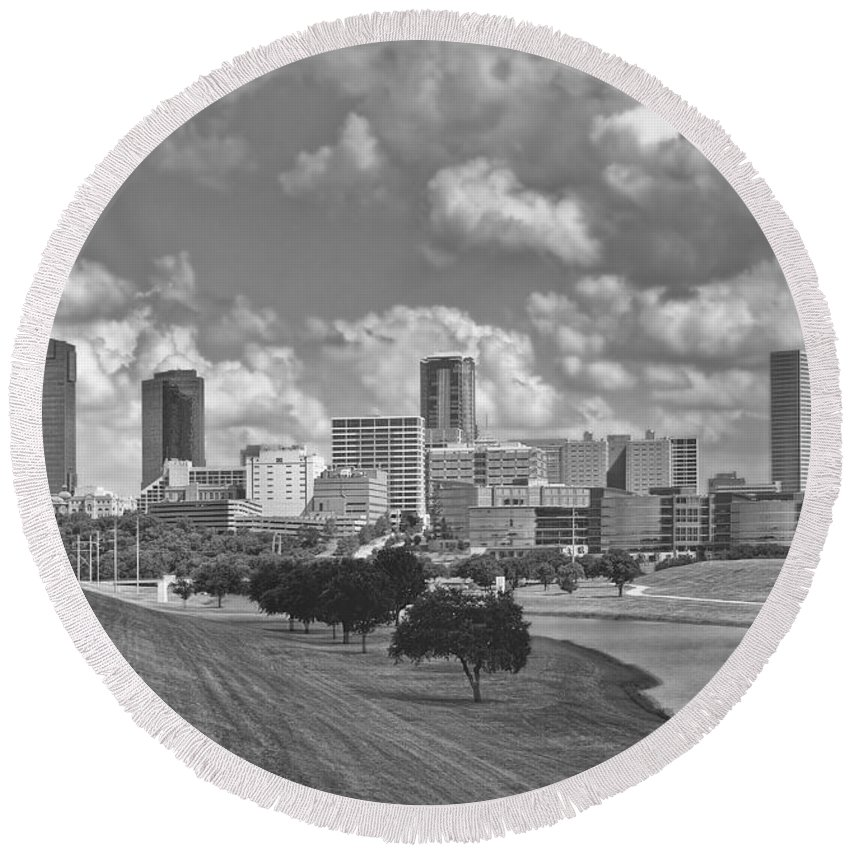 Architecture Round Beach Towel featuring the photograph Skyline Of Fort Worth by David and Carol Kelly