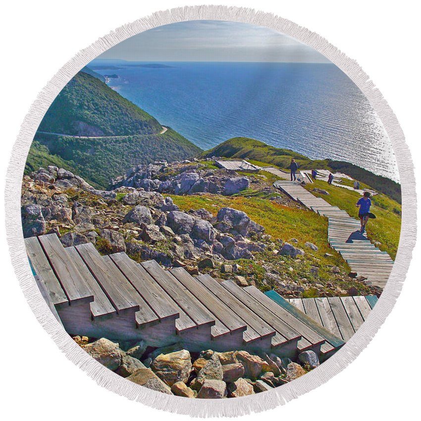 Skyline Trail In Cape Breton Highlands Np Round Beach Towel featuring the photograph Skyline Trail In Cape Breton Highlands Np-ns by Ruth Hager
