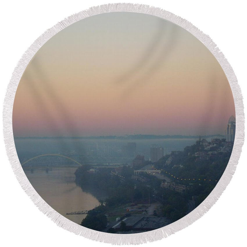 Cityscape Round Beach Towel featuring the photograph Skyscraper And Bridge by Ellen Meakin