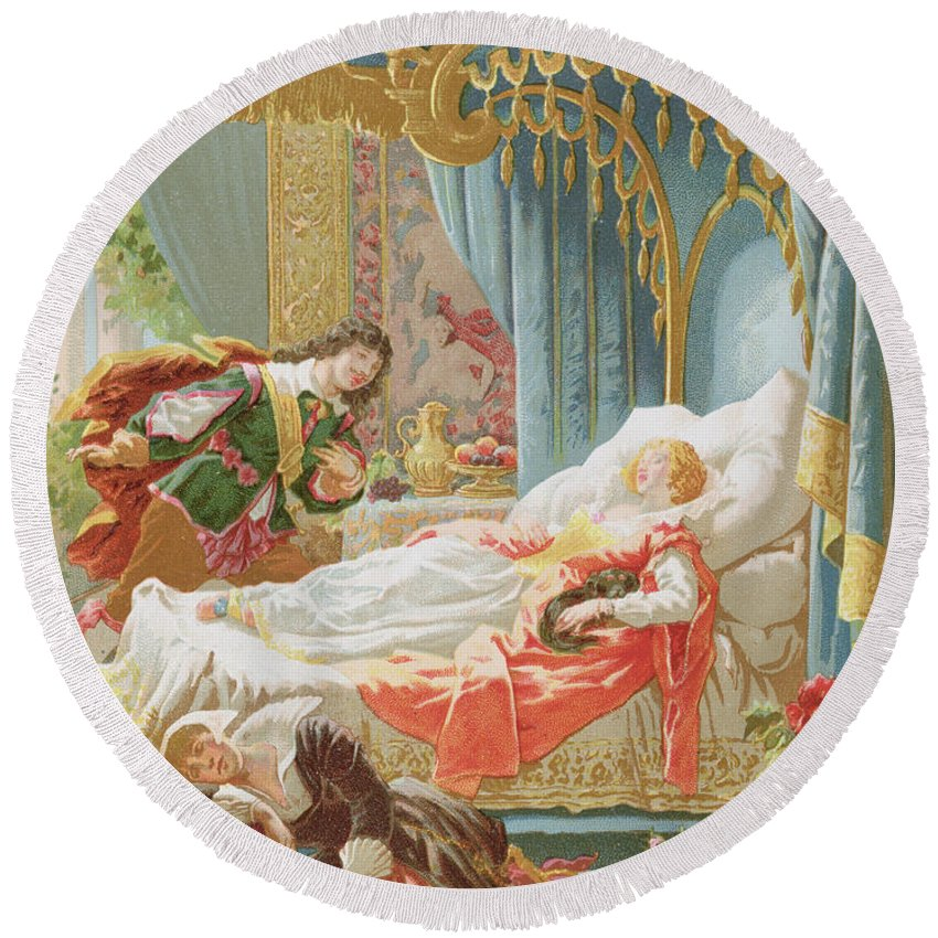 Tale Round Beach Towel featuring the painting Sleeping Beauty And Prince Charming by Frederic Lix