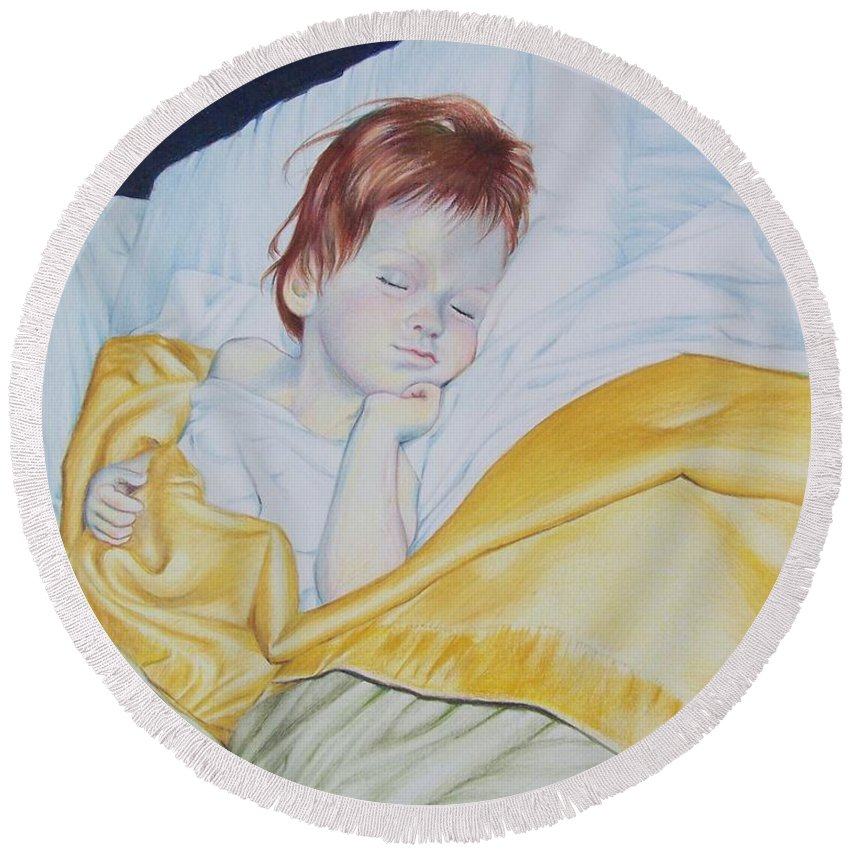 Baby Round Beach Towel featuring the mixed media Sleeping Beauty by Constance Drescher