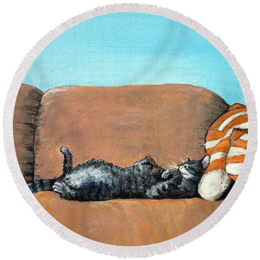 Calm Round Beach Towel featuring the painting Sleeping Cat by Anastasiya Malakhova