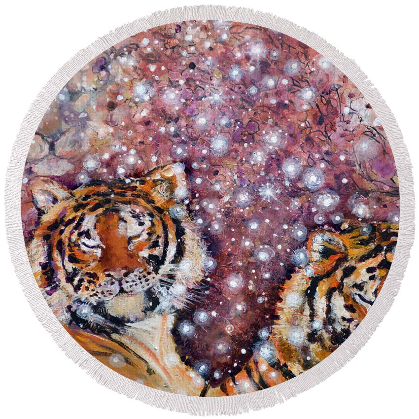 Tiger Round Beach Towel featuring the painting Sleeping Tigers Dream Such Sweet Dreams Kitties In Heaven by Ashleigh Dyan Bayer