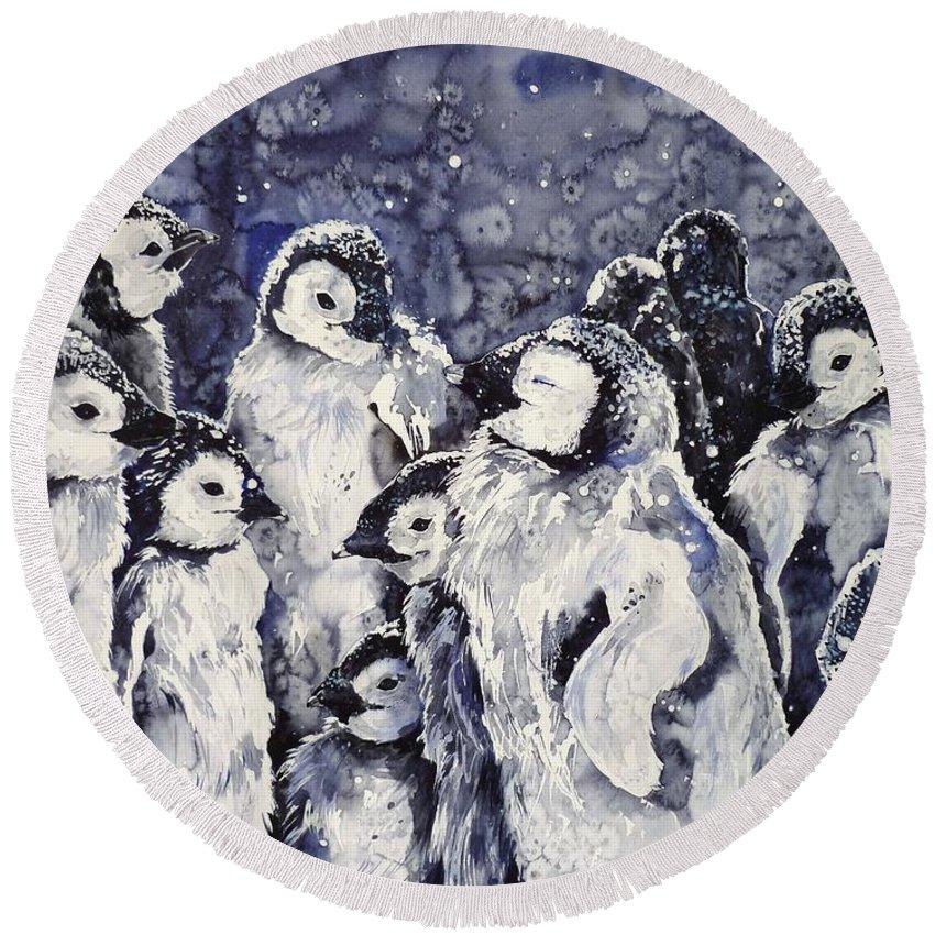 Penguins Round Beach Towel featuring the painting Sleepy Penguins by Zaira Dzhaubaeva