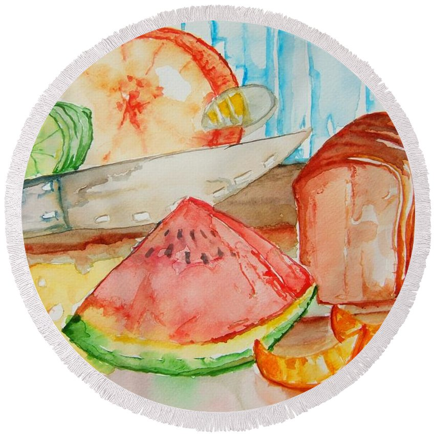 Fruit Round Beach Towel featuring the painting Slice It by Elaine Duras