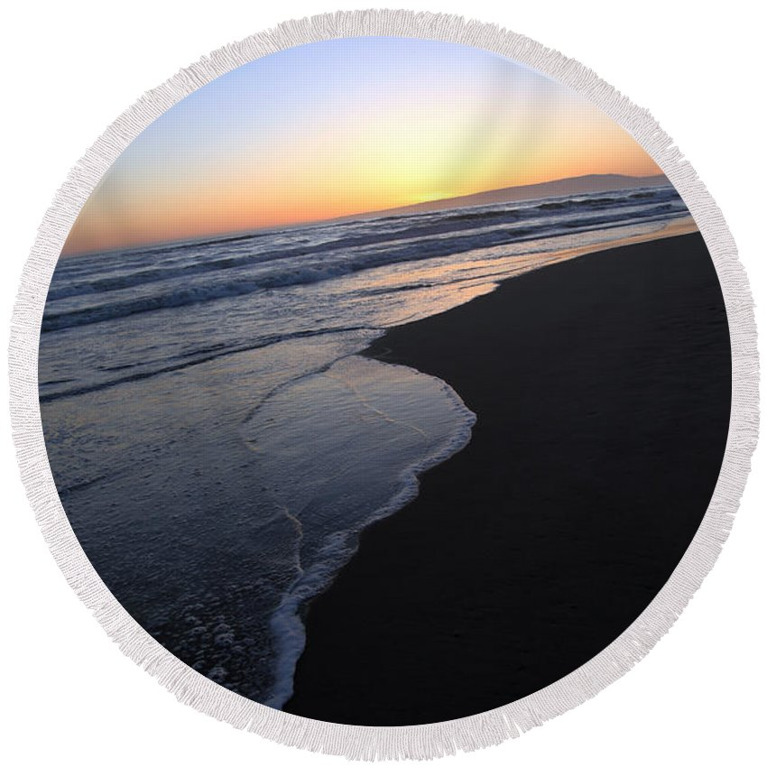 sunset Beach Round Beach Towel featuring the photograph Sliding Down - Sunset Beach California by Amanda Barcon