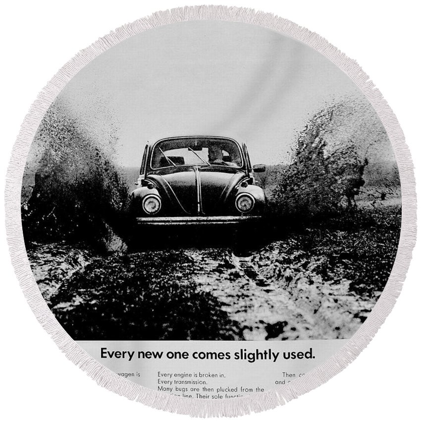 Volkswagen Round Beach Towel featuring the photograph Slightly Used by Benjamin Yeager