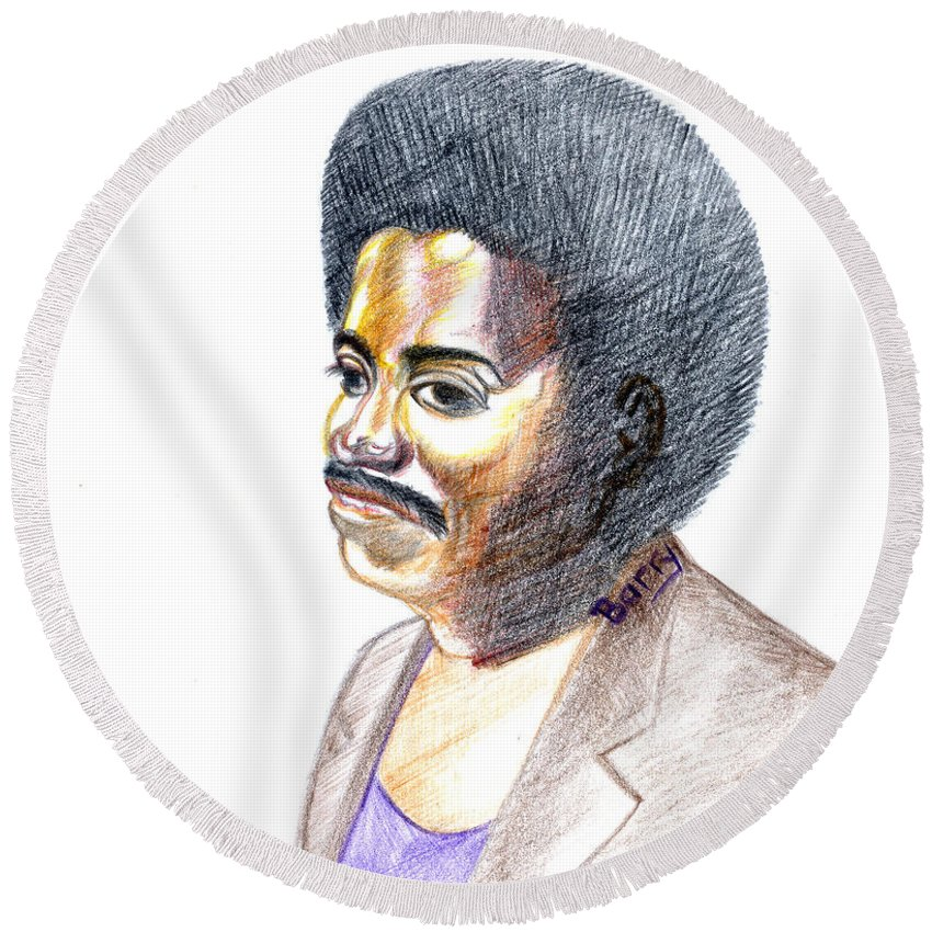 Slim Ali Round Beach Towel featuring the painting Slim Ali by Emmanuel Baliyanga