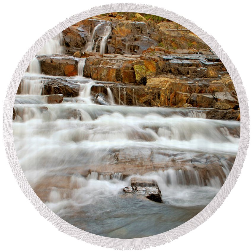 Water Fall Round Beach Towel featuring the photograph Slippery When Wet by Donna Blackhall