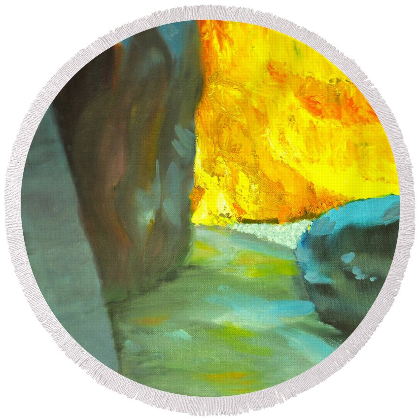 Abstract Round Beach Towel featuring the painting Slot Canyon by Juanita Doll