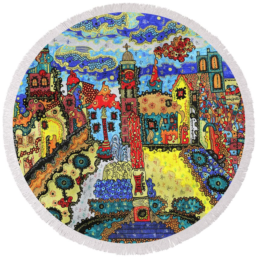 Banska Bystrica Round Beach Towel featuring the painting Slovakia - Banska Bystrica 1 by Alex Art and Photo