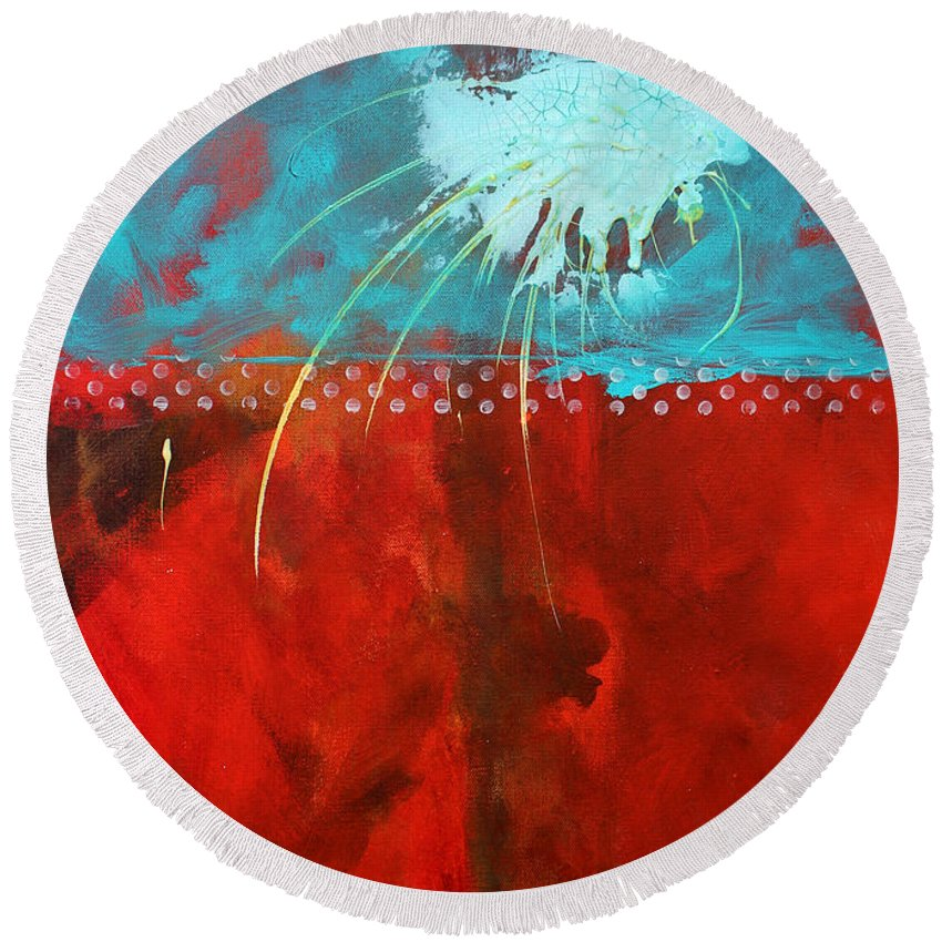 Abstract Round Beach Towel featuring the painting Slow Travel by Nancy Merkle