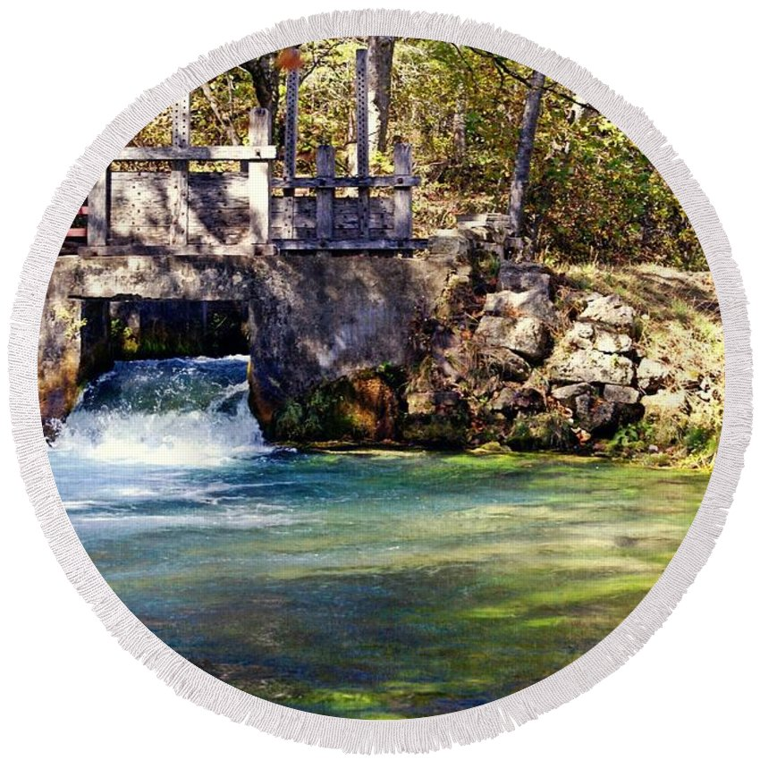 Jack's Fork River Round Beach Towel featuring the photograph Sluice Gate At Alley Spring by Marty Koch