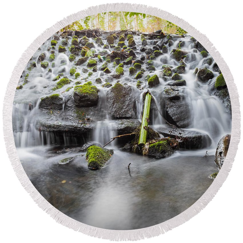 Dublin Round Beach Towel featuring the photograph Small Cascade In Marlay Park by Semmick Photo