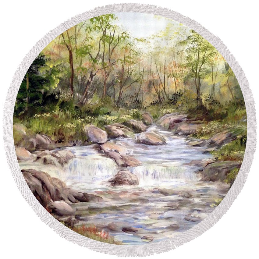 Falls Painting Round Beach Towel featuring the painting Small Falls In The Forest by Dorothy Maier