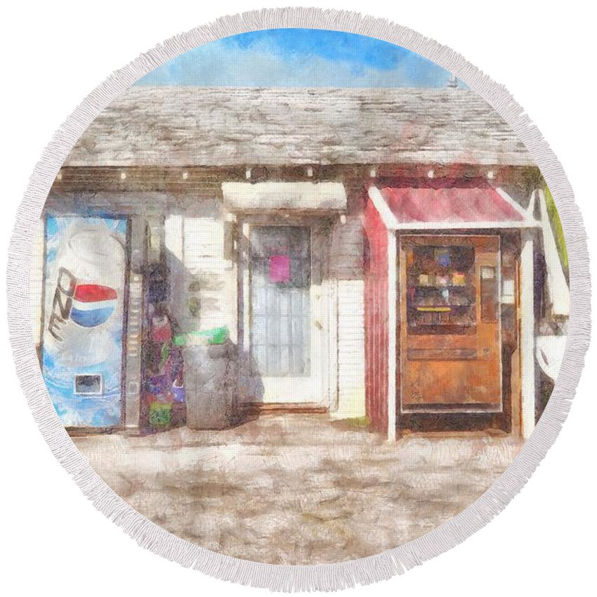 Small Town Pit Stop Round Beach Towel featuring the painting Small Town Pit Stop by L Wright