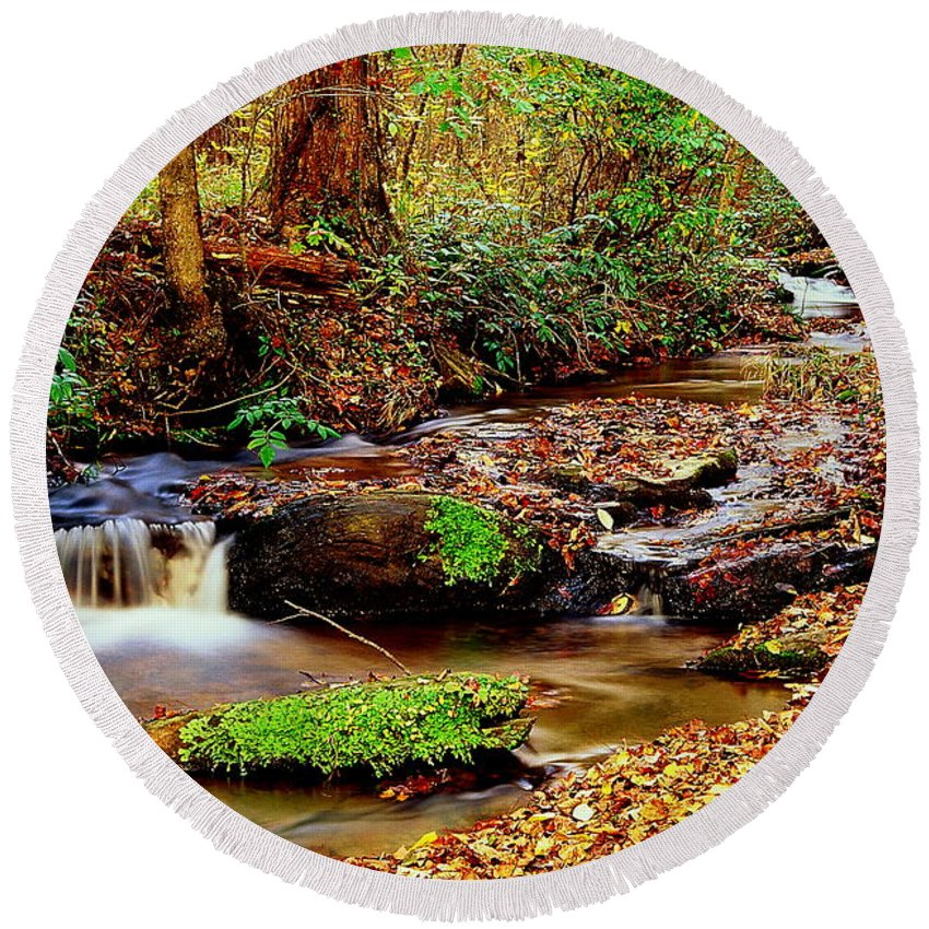 Fine Art Round Beach Towel featuring the photograph Small Waterfall And Stream 2 by Rodney Lee Williams