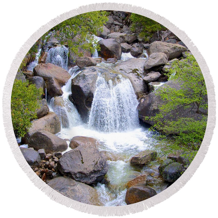 Small Waterfall Round Beach Towel featuring the photograph Small Waterfall Near Hwy 120 Roadside In Yosemite Np-ca- 2013 by Ruth Hager