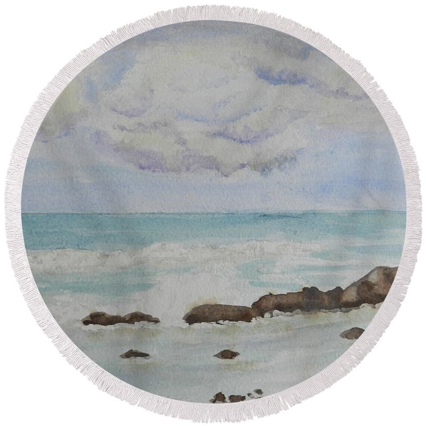 Impressionism Round Beach Towel featuring the painting Small Waves Breaking Near Rocks by Pamela Meredith