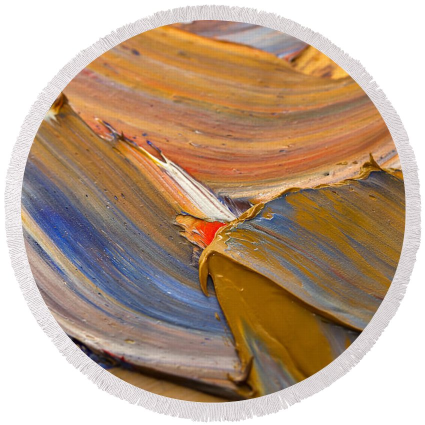 Abstract Round Beach Towel featuring the photograph Smeared Paint by Louise Heusinkveld