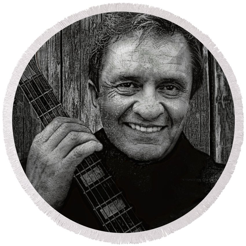 johnny Cash Round Beach Towel featuring the digital art Smiling Johnny Cash by Daniel Hagerman
