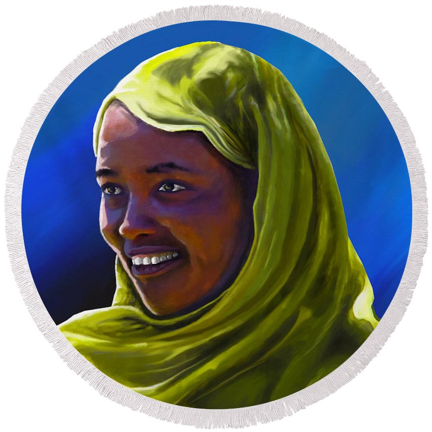 Lady Round Beach Towel featuring the painting Smiling Lady by Anthony Mwangi