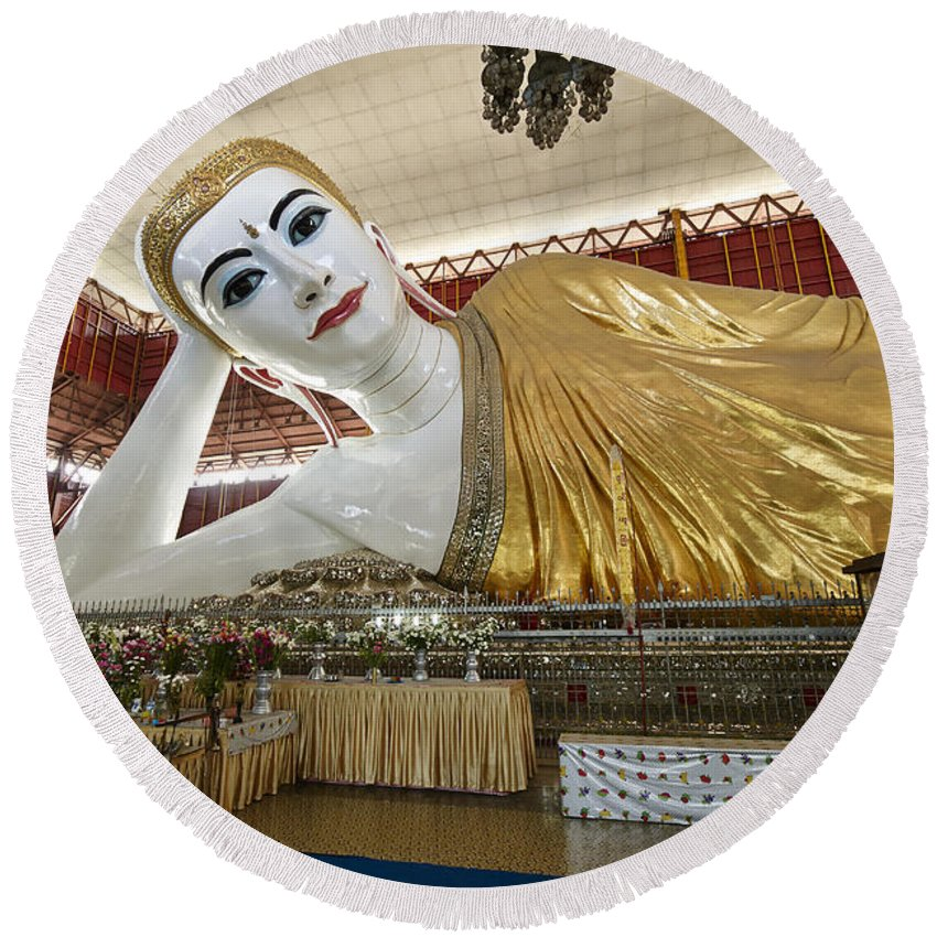 Myanmar Round Beach Towel featuring the photograph Smiling Reclining Buddha In Yangon Myanmar by Juergen Ritterbach