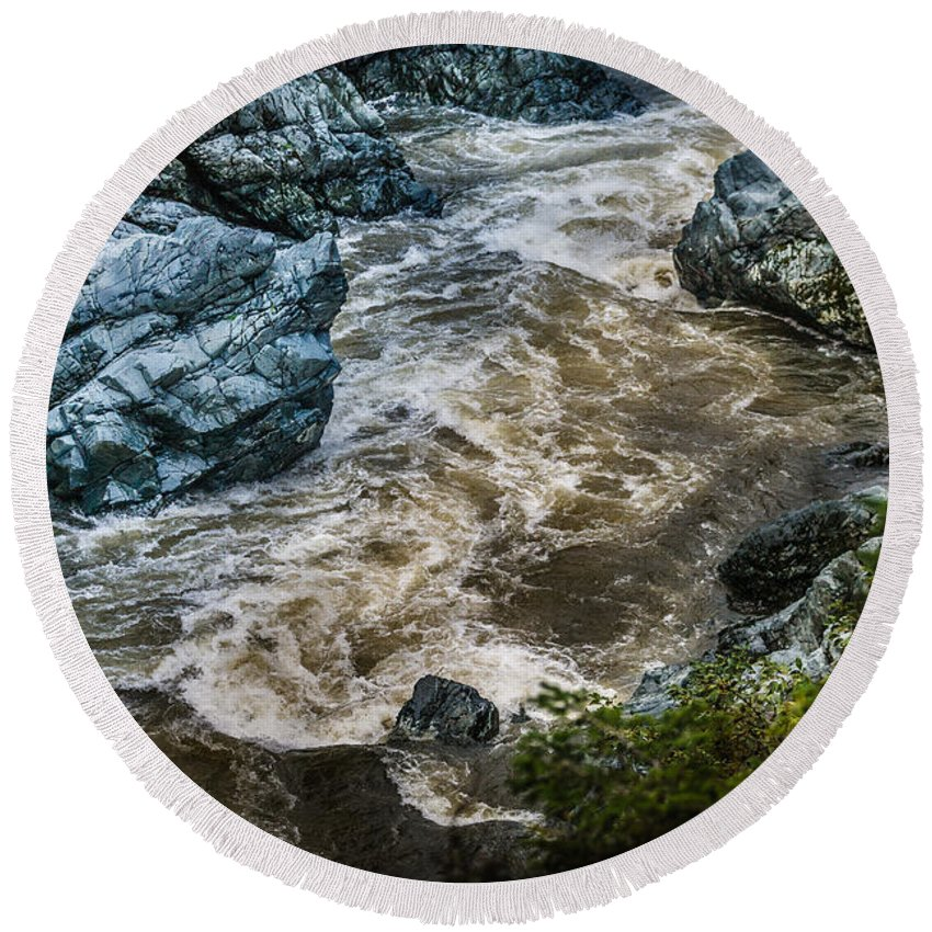 Copyrighted Round Beach Towel featuring the photograph Smith River by Mike Penney