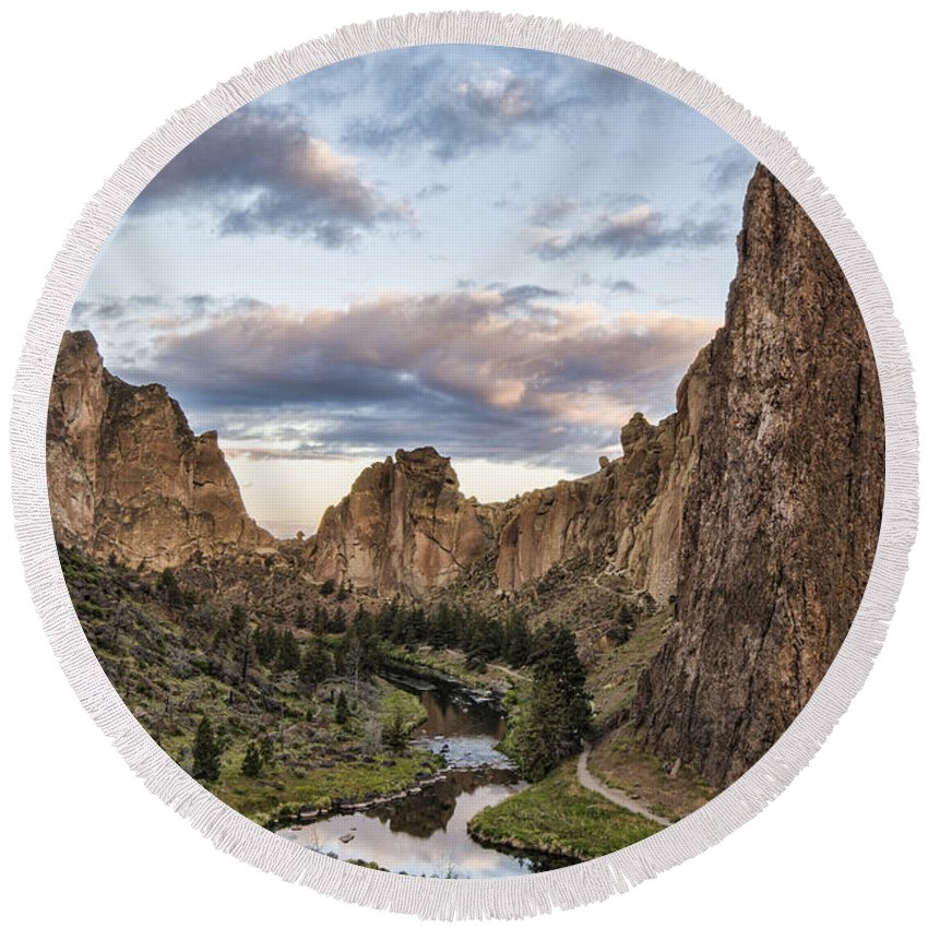 Clouds Round Beach Towel featuring the photograph Smith Rock by Erika Fawcett