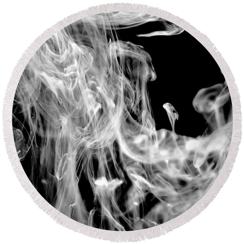 Black And White Round Beach Towel featuring the photograph Smoke In The Water by Liz Masoner