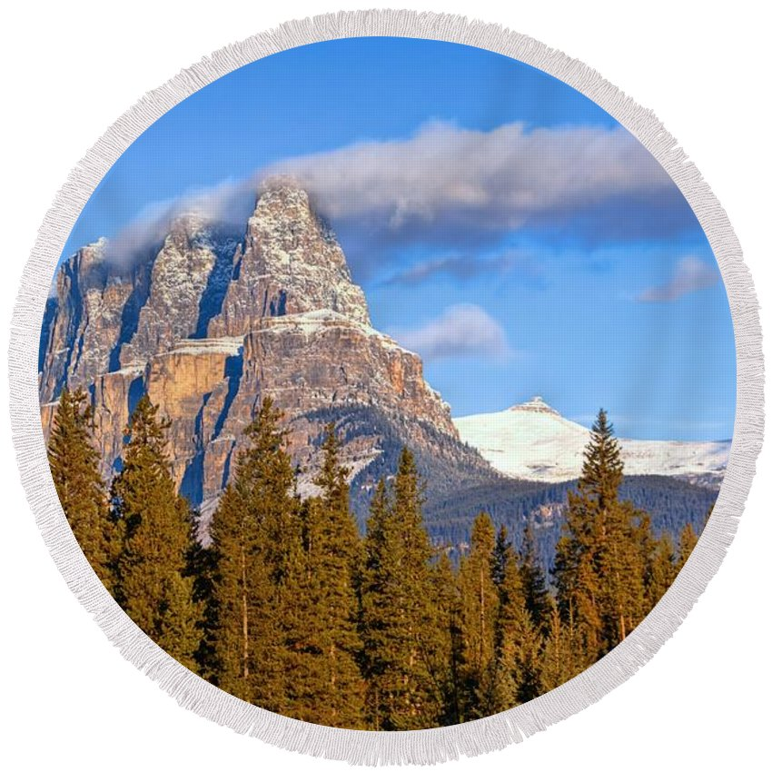 Banff National Park Round Beach Towel featuring the photograph Smoke Stack by James Anderson